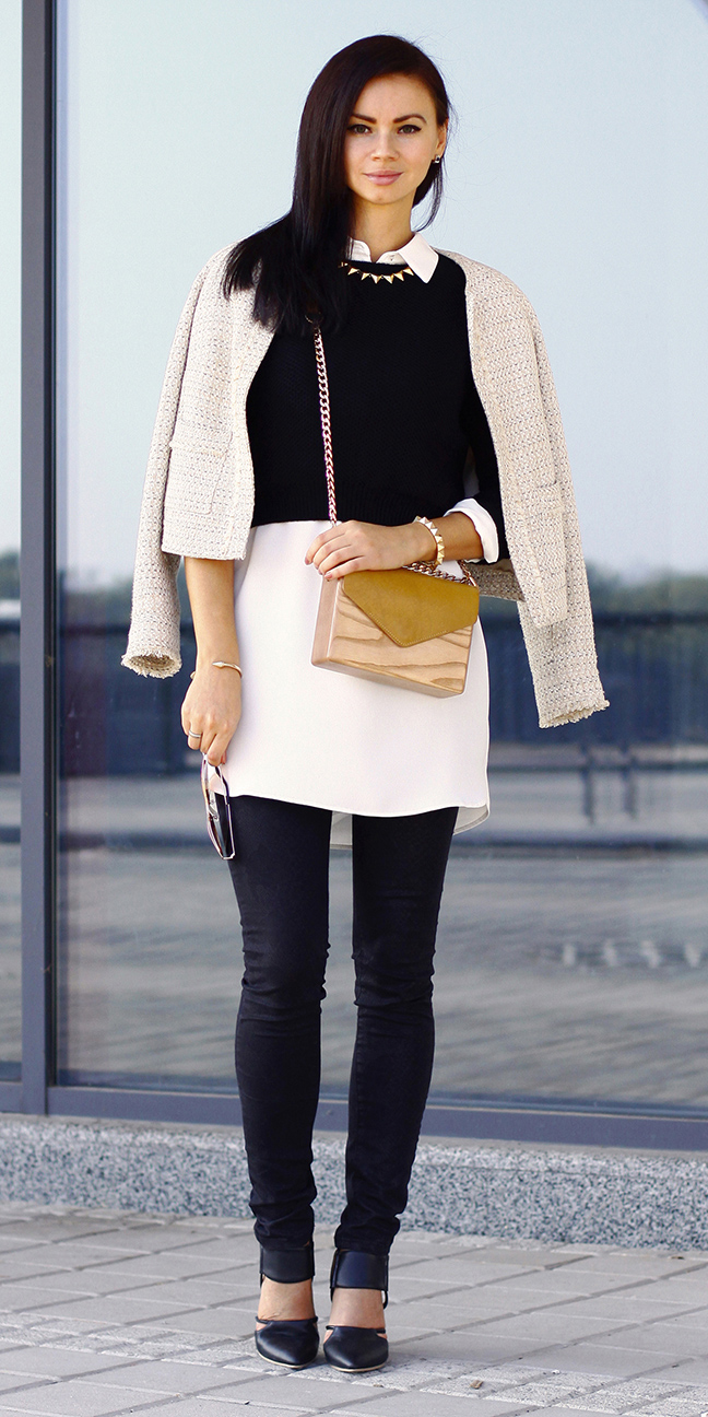 black-skinny-jeans-white-top-blouse-tan-bag-black-sweater-layer-brun-black-shoe-pumps-white-jacket-lady-fall-winter-lunch.jpg