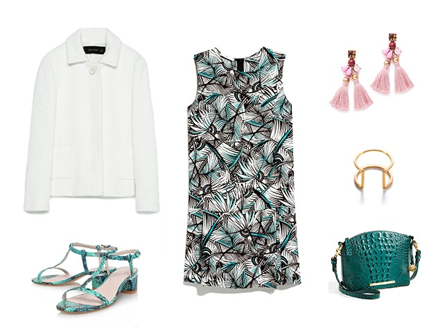 black-dress-print-mini-white-jacket-lady-pink-earrings-bracelet-green-bag-green-shoe-sandals-spring-summer-wedding-dinner.jpg