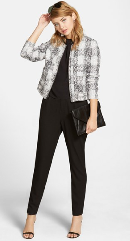 black-joggers-pants-white-jacket-lady-tweed-black-tee-black-shoe-sandalh-black-bag-clutch-sun-wear-style-fashion-fall-winter-hairr-work.jpg