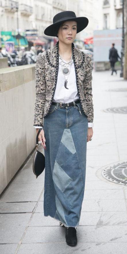 white-tee-necklace-bib-pendant-hat-brun-black-shoe-booties-denim-grayl-jacket-lady-maxi-skirt-fall-winter-lunch.jpg
