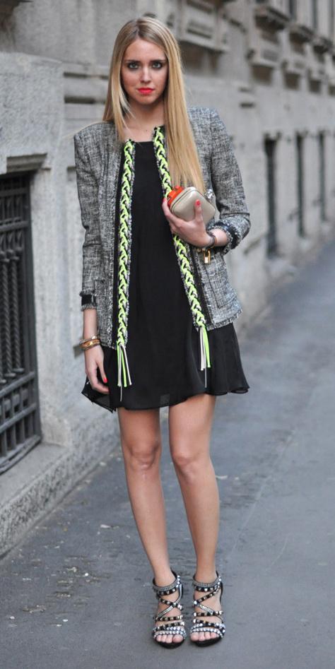 black-dress-mini-black-shoe-sandalh-tweed-blonde-grayl-jacket-lady-fall-winter-dinner.jpg