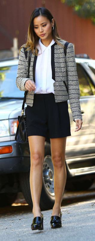 black-shorts-white-collared-shirt-fashion-style-outfit-spring-summer-jamiechung-tailor-grayl-jacket-lady-hoops-black-bag-black-shoe-pumps-tweed-hairr-lunch-work.jpg