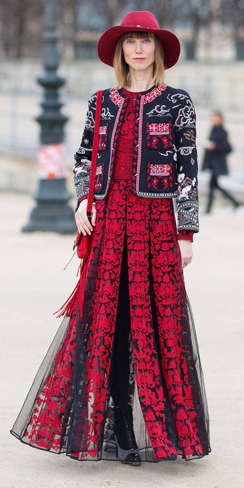 red-dress-maxi-lace-chiffon-black-jacket-lady-red-bag-hat-fall-winter-hairr-lunch.jpg