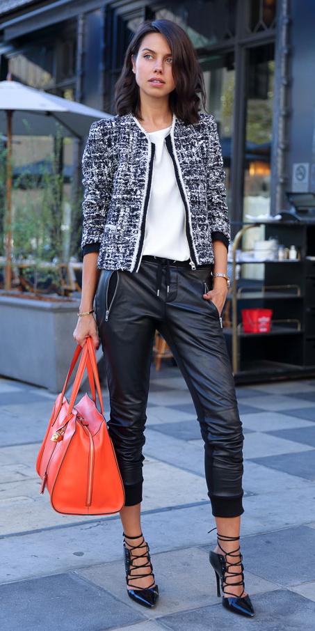 black-joggers-pants-orange-bag-black-shoe-pumps-brun-black-jacket-lady-fall-winter-lunch.jpg