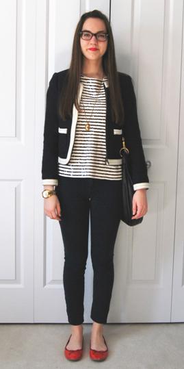 black-skinny-jeans-red-shoe-flats-black-tee-stripe-necklace-pend-brun-black-jacket-lady-fall-winter-work.jpg