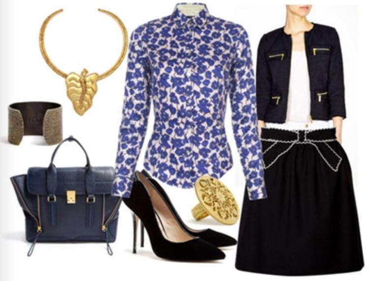 black-mini-skirt-blue-med-top-blouse-black-jacket-lady-necklace-ring-bracelet-wear-style-fashion-fall-winter-print-skirtsuit-black-shoe-pumps-blue-bag-office-work.jpg