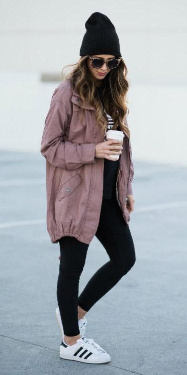 black-skinny-jeans-beanie-sun-white-shoe-sneakers-adidas-pink-light-jacket-utility-fall-winter-hairr-weekend.jpg