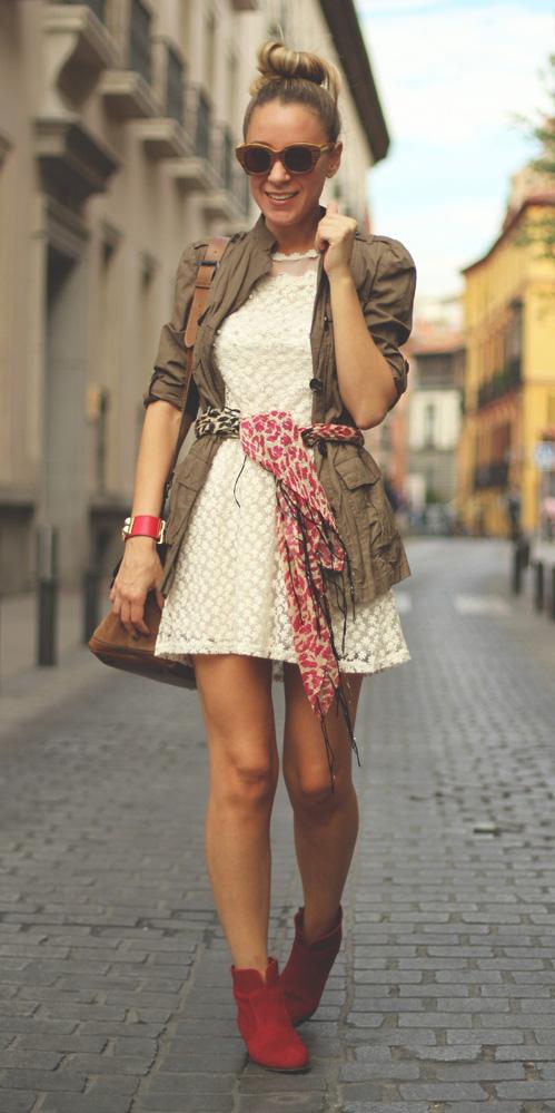white-dress-mini-red-scarf-camel-jacket-utility-blonde-bun-sun-red-shoe-booties-fall-winter-lunch.jpg