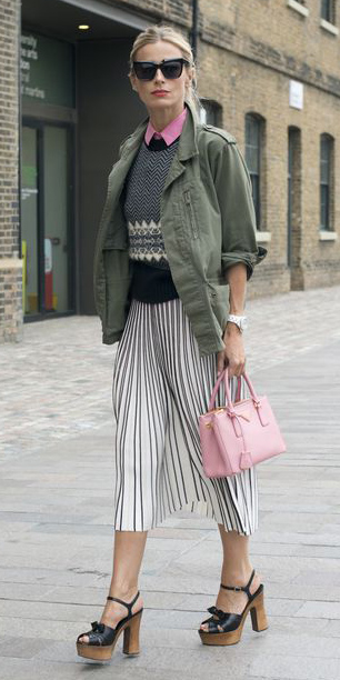 how-to-style-white-midi-skirt-pink-bag-blonde-pony-sun-black-shoe-sandalh-vertical-stripe-green-olive-jacket-utility-fall-winter-fashion-lunch.jpg