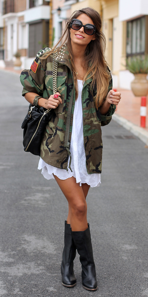 white-dress-tank-black-shoe-boots-hairr-sun-black-bag-camo-print-green-olive-jacket-utility-fall-winter-weekend.jpg