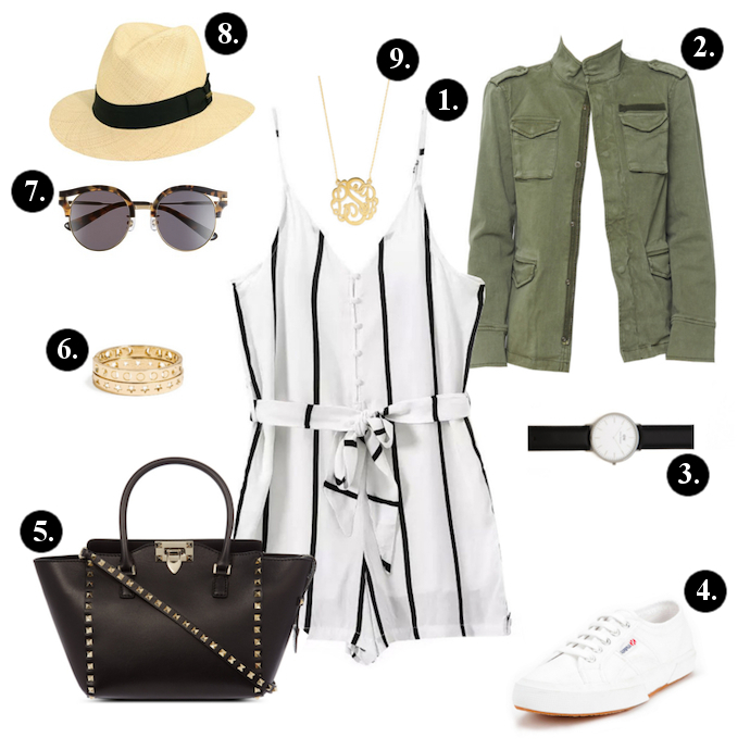 white-jumper-romper-vertical-stripe-green-olive-jacket-utility-white-shoe-sneakers-watch-necklace-hat-panama-black-bag-sun-spring-summer-weekend.jpg