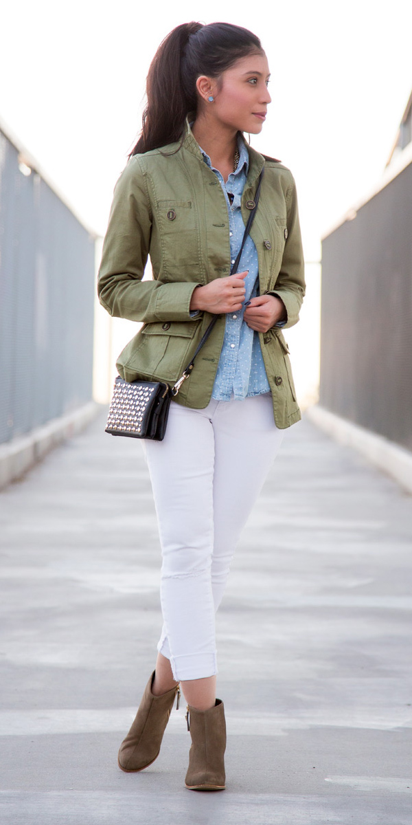 white-skinny-jeans-blue-light-collared-shirt-green-olive-jacket-utility-black-bag-tan-shoe-booties-studs-brun-pony-fall-winter-weekend.jpg