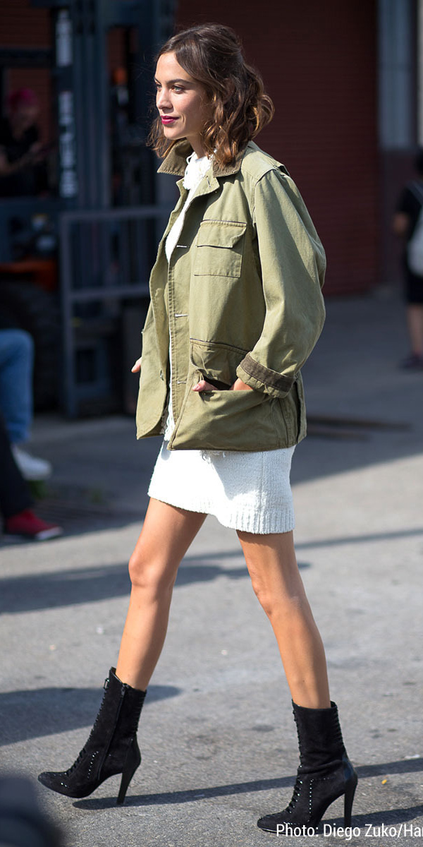 white-dress-sweater-green-olive-jacket-utility-black-shoe-booties-hairr-alexachung-fall-winter-dinner.jpg
