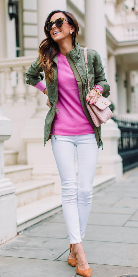 white-skinny-jeans-orange-shoe-pumps-pink-magenta-sweater-pink-bag-hairr-sun-studs-green-olive-jacket-utility-fall-winter-lunch.jpg
