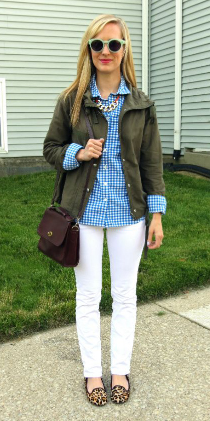 white-skinny-jeans-tan-shoe-loafers-leopard-print-blue-med-collared-shirt-gingham-green-olive-jacket-utility-brown-bag-chain-necklace-sun-blonde-spring-summer-weekend.jpg