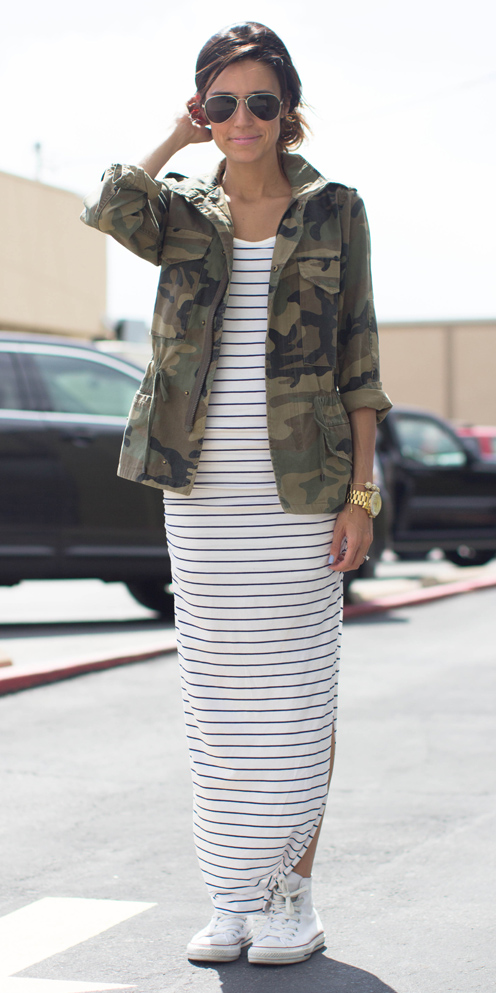 white-dress-maxi-green-olive-jacket-utility-camo-print-white-shoe-sneakers-bun-sun-watch-spring-summer-hairr-weekend.jpg