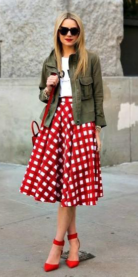 red-midi-skirt-white-graphic-tee-green-olive-jacket-utility-blonde-red-shoe-pumps-sun-red-bag-fall-winter-lunch.jpg