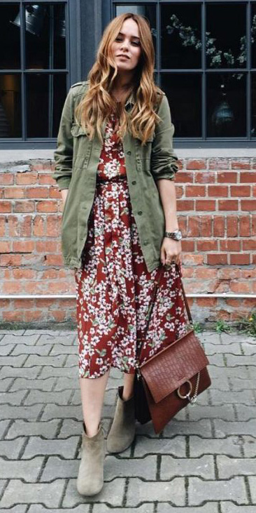 red-dress-midi-floral-print-green-olive-jacket-utility-hairr-tan-shoe-booties-fall-winter-weekend.jpg