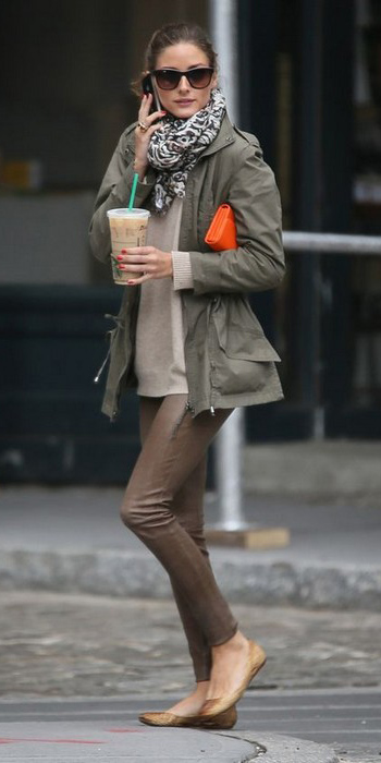 brown-skinny-jeans-tan-shoe-flats-white-scarf-tan-sweater-green-olive-jacket-utility-pony-hairr-oliviapalermostyle-fall-winter-weekend.jpg