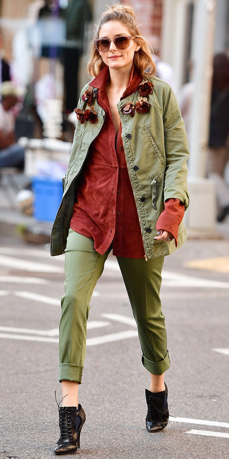 green-olive-slim-pants-red-collared-shirt-green-olive-jacket-utility-black-shoe-booties-hairr-sun-oliviapalermo-fall-winter-lunch.jpg