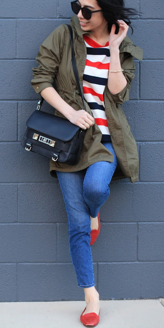 blue-med-skinny-jeans-red-top-stripe-sun-black-bag-red-shoe-loafers-green-olive-jacket-utility-fall-winter-weekend.JPG