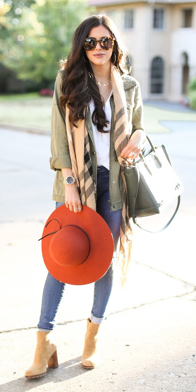 blue-med-skinny-jeans-hat-tan-shoe-booties-tan-scarf-plaid-white-tee-green-bag-sun-brun-green-olive-jacket-utility-fall-winter-weekend.jpg