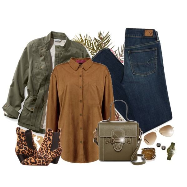 blue-navy-skinny-jeans-green-olive-jacket-utility-cognac-shoe-booties-leopard-print-green-bag-watch-sun-camel-collared-shirt-fall-winter-weekend.jpg