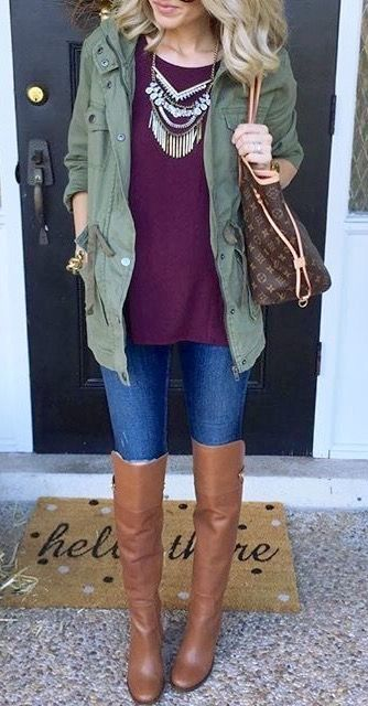 blue-med-skinny-jeans-purple-royal-sweater-bib-necklace-green-olive-jacket-utility-cognac-shoe-boots-brown-bag-tote-howtowear-fashion-style-outfit-blonde-fall-winter-weekend.jpg