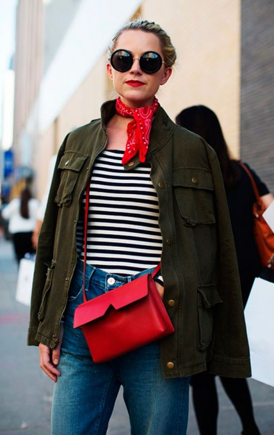blue-med-boyfriend-jeans-black-tee-stripe-red-scarf-neck-bandana-red-bag-green-olive-jacket-utility-sun-bun-howtowear-fashion-style-outfit-fall-winter-lunch.jpg