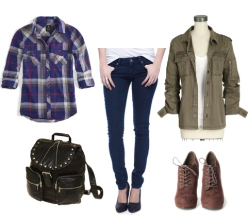 blue-navy-skinny-jeans-blue-navy-plaid-shirt-green-olive-jacket-utility-black-bag-pack-brown-shoe-booties-taylorswift-howtowear-fashion-style-outfit-fall-winter-lunch.jpg