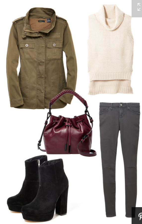grayd-skinny-jeans-white-sweater-sleeveless-fall-winter-green-olive-jacket-utility-black-shoe-booties-burgundy-bag-lunch.jpg