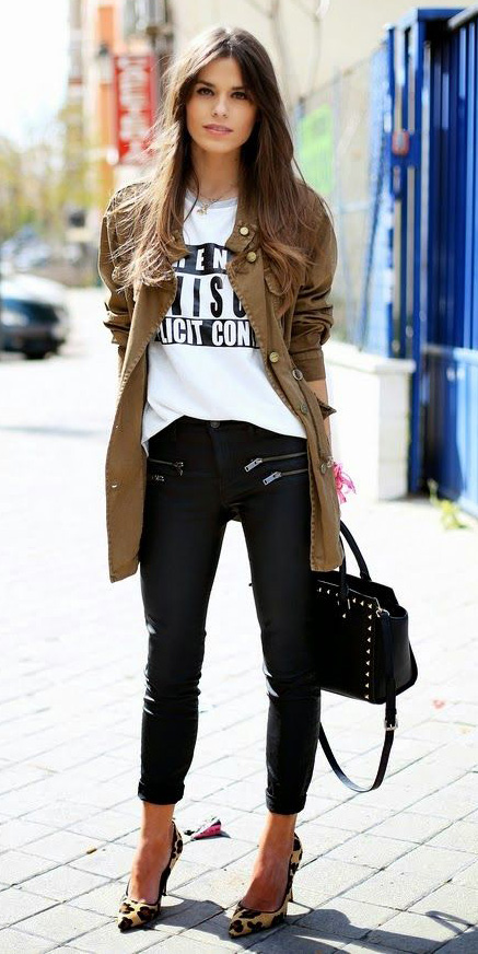 black-skinny-jeans-white-graphic-tee-green-olive-jacket-utility-tan-shoe-pumps-leopard-black-bag-fall-winter-hairr-lunch.jpg