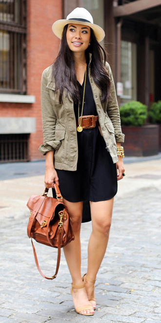 black-dress-green-olive-jacket-utility-wide-belt-necklace-cognac-bag-shirt-tan-shoe-sandalh-hat-panama-howtowear-fashion-style-outfit-spring-summer-brun-lunch.jpg