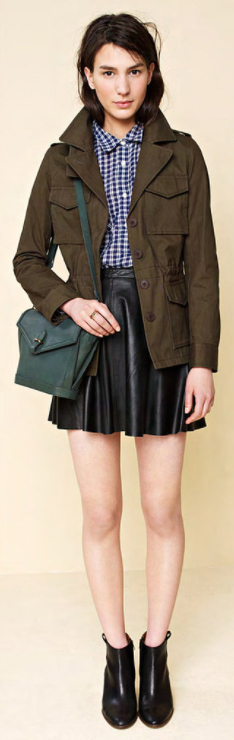 black-mini-skirt-blue-navy-collared-shirt-print-gingham-green-bag-green-olive-jacket-utility-wear-style-fashion-fall-winter-check-black-shoe-booties-brun-lunch.jpg