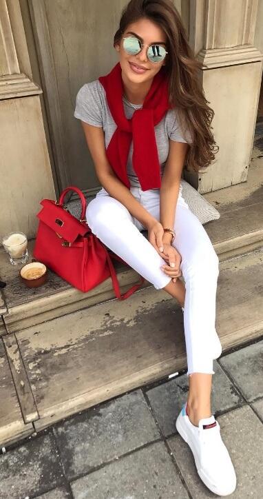 white-skinny-jeans-grayl-tee-red-bag-white-shoe-sneakers-sun-red-cardigan-spring-summer-hairr-weekend.jpg