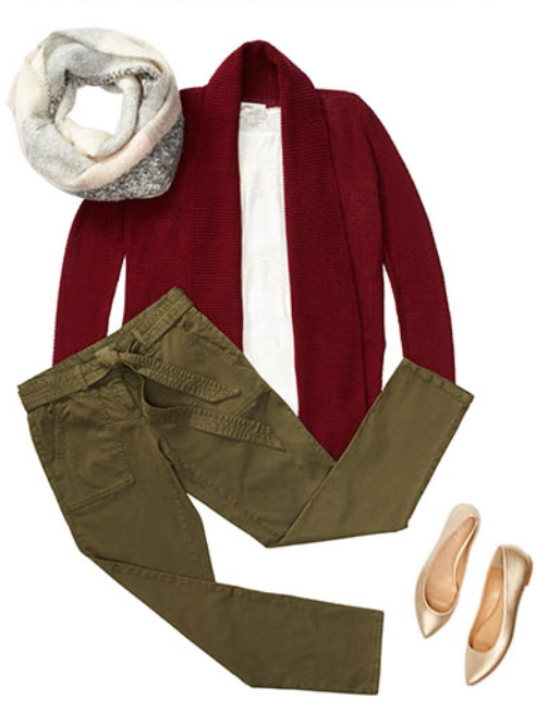 green-olive-skinny-jeans-white-tee-howtowear-style-fashion-fall-winter-red-cardiganl-white-scarf-tan-shoe-flats-weekend.jpg