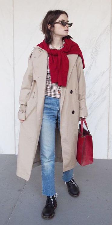 blue-light-skinny-jeans-red-cardigan-hairr-red-bag-sun-tan-jacket-coat-trench-black-shoe-booties-fall-winter-weekend.jpg