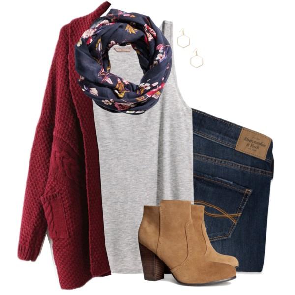 blue-navy-skinny-jeans-grayl-tank-blue-navy-scarf-floral-print-tan-shoe-booties-red-cardiganl-fall-winter-weekend.jpg