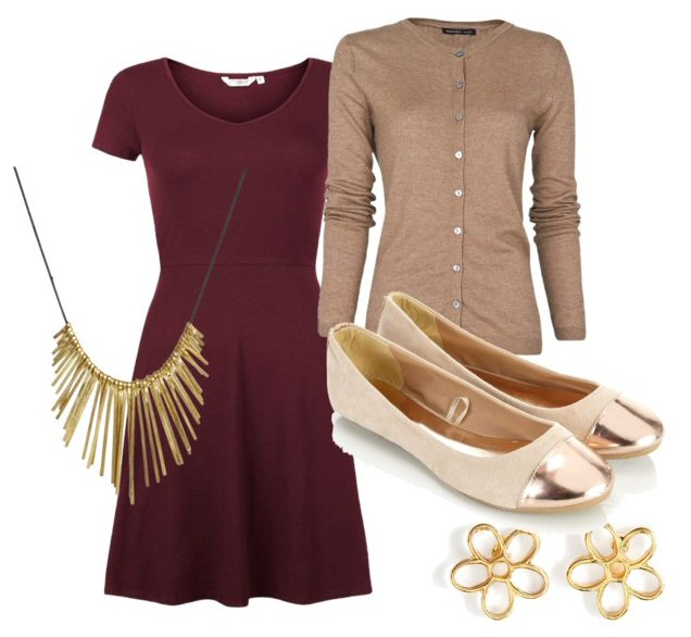 r-burgundy-dress-tan-cardigan-tan-shoe-flats-howtowear-fashion-style-outfit-spring-summer-aline-necklace-studs-work.jpg