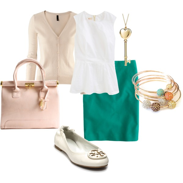 green-emerald-pencil-skirt-white-shoe-flats-bracelet-necklace-pend-peach-bag-tan-cardigan-white-top-spring-summer-work.jpg