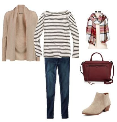 blue-navy-skinny-jeans-blue-navy-tee-stripe-tan-cardiganl-red-bag-tan-shoe-booties-red-scarf-plaid-howtowear-fashion-style-outfit-fall-winter-lunch.jpg