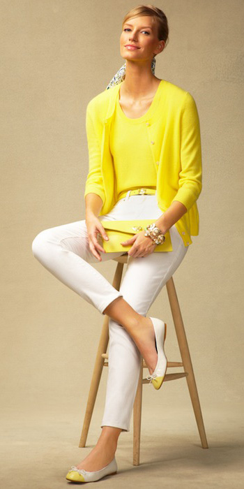 white-slim-pants-yellow-sweater-shell-pony-yellow-bag-bracelet-howtowear-fashion-style-outfit-spring-summer-sweaterset-yellow-cardigan-necklace-white-shoe-flats-blonde-work.jpg