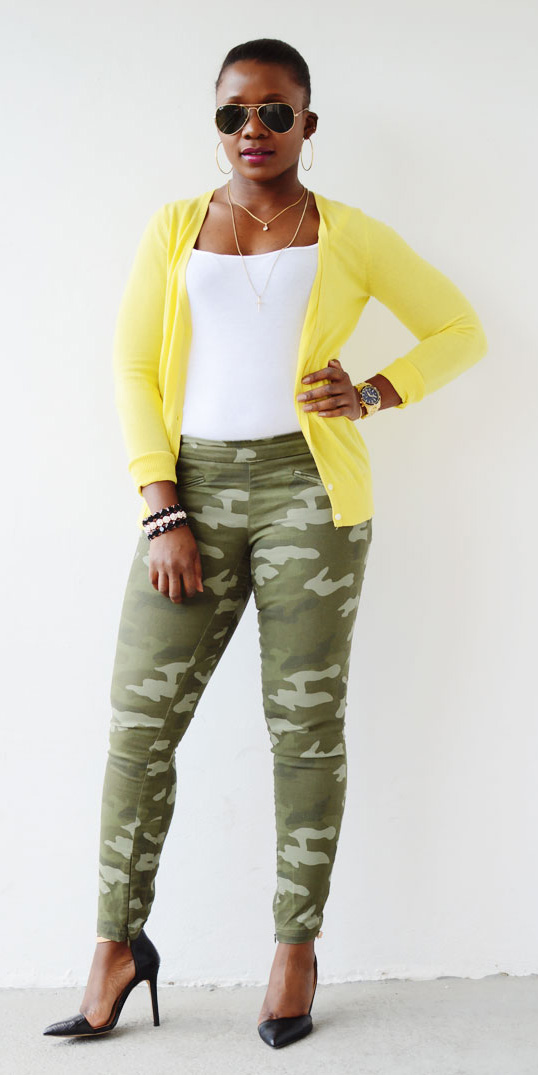 green-olive-skinny-jeans-camo-print-white-tank-yellow-cardigan-black-shoe-pumps-hoops-bun-watch-spring-summer-brun-lunch.jpg