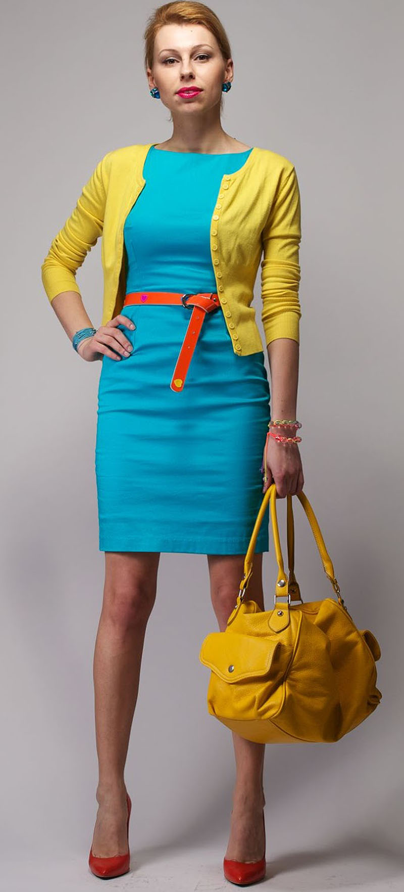 blue-med-dress-shift-belt-bun-studs-yellow-bag-orange-shoe-pumps-yellow-cardigan-howtowear-fashion-style-outfit-spring-summer-hairr-lunch.jpg