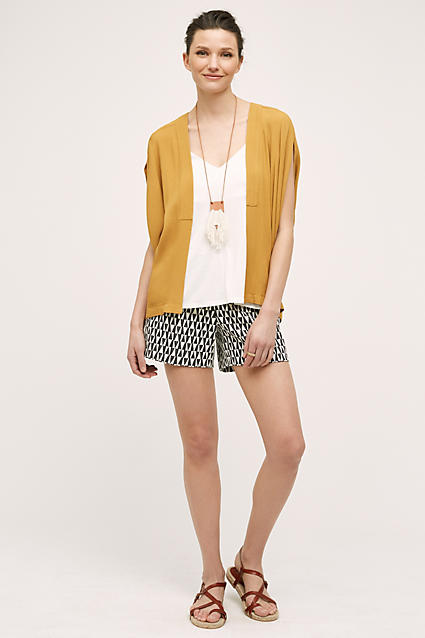 black-shorts-white-cami-howtowear-fashion-style-outfit-spring-summer-yellow-cardigan-print-brown-shoe-sandals-bun-necklace-pend-brun-weekend.jpg