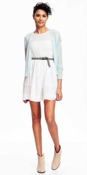 white-dress-blue-light-cardigan-tan-shoe-booties-mini-wear-style-fashion-spring-summer-belt-bun-lunch.jpg