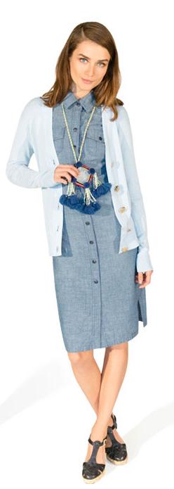 blue-light-dress-blue-light-cardigan-black-shoe-sandalh-pend-necklace-shirt-chambray-wear-style-fashion-spring-summer-office-hairr-work.jpg