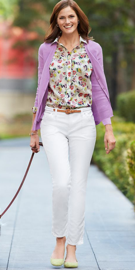 white-skinny-jeans-yellow-top-blouse-print-purple-light-cardigan-hairr-yellow-shoe-flats-spring-summer-lunch.jpg