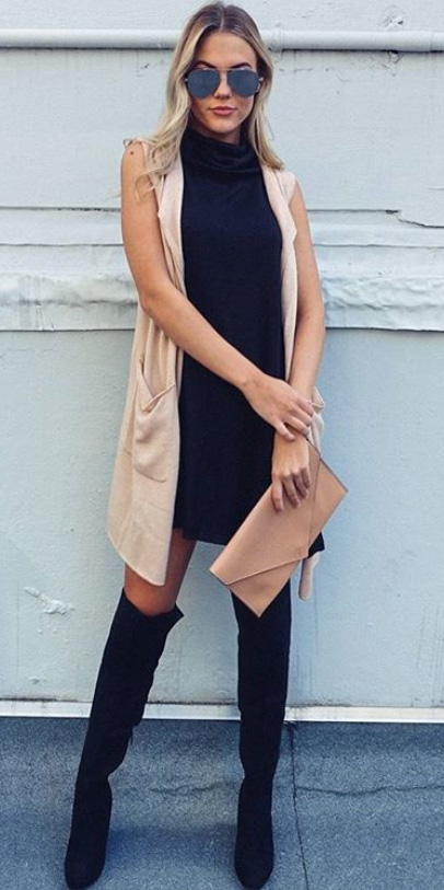 black-dress-swing-blonde-sun-tan-bag-clutch-tan-vest-knit-black-shoe-boots-otk-fall-winter-dinner.jpg