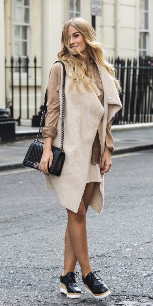 white-mini-skirt-tan-collared-shirt-layer-blonde-black-bag-white-vest-knit-black-shoe-brogues-fall-winter-lunch.jpg